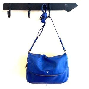 Fossil blue leather crossbody bag